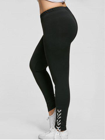 Plus Size Lace Up Tight Pants - Black - 4xl