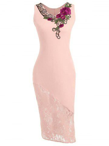 Latest Lace Insert Embroidered Below The Knee Bodycon Dress - 2XL LIGHT PINK Mobile
