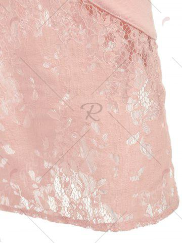 Buy Lace Insert Embroidered Midi Bodycon Dress - 2XL LIGHT PINK Mobile