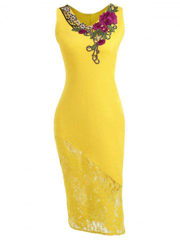 Best Lace Insert Embroidered Below The Knee Bodycon Dress - S YELLOW Mobile