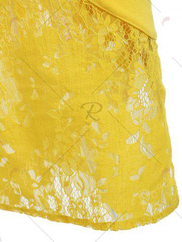 Trendy Lace Insert Embroidered Midi Bodycon Dress - S YELLOW Mobile
