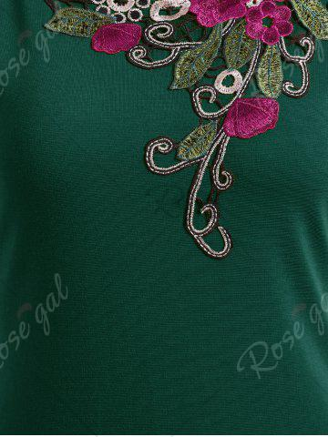 Outfit Lace Insert Embroidered Midi Bodycon Dress - 2XL GREEN Mobile