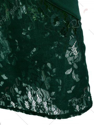 Chic Lace Insert Embroidered Midi Bodycon Dress - 2XL GREEN Mobile