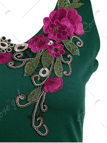 Shops Lace Insert Embroidered Midi Bodycon Dress - 2XL GREEN Mobile