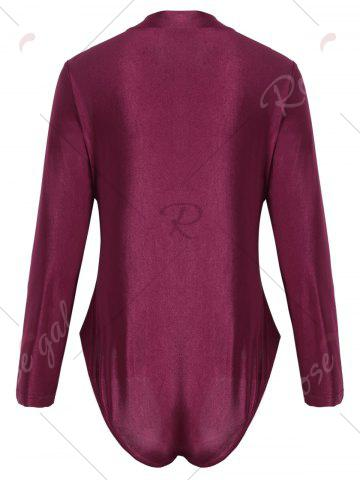 Store Long Sleeve Plus Size Sport Swimsuit - XL WINE RED Mobile