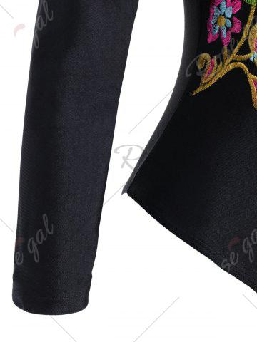 Shop Embroidered Plus Size Swimsuit with Long Sleeve - XL BLACK Mobile