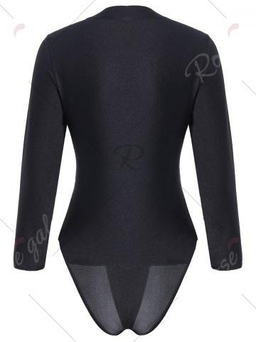 New Embroidered Plus Size Swimsuit with Long Sleeve - XL BLACK Mobile