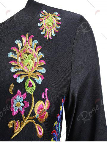 Store Embroidered Plus Size Swimsuit with Long Sleeve - XL BLACK Mobile