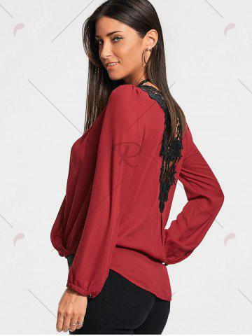 Online Lace Back Long Sleeve Surplice Blouse - M WINE RED Mobile