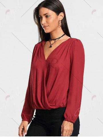 Buy Lace Back Long Sleeve Surplice Blouse - M WINE RED Mobile
