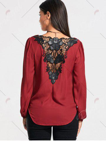 Discount Lace Back Long Sleeve Surplice Blouse - 2XL WINE RED Mobile