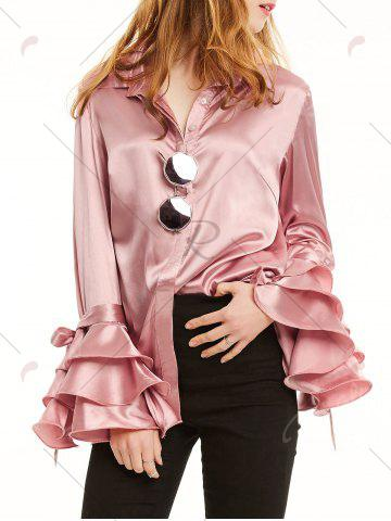 Trendy Long Layered Ruffles Sleeve Satin Shirt - XL LIGHT PINK Mobile