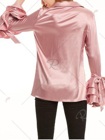 Shop Long Layered Ruffles Sleeve Satin Shirt - XL LIGHT PINK Mobile