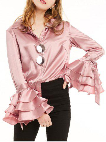 New Long Layered Ruffles Sleeve Satin Shirt - XL LIGHT PINK Mobile