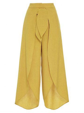 Cheap Tie Front High Split Palazzo Pants YELLOW M