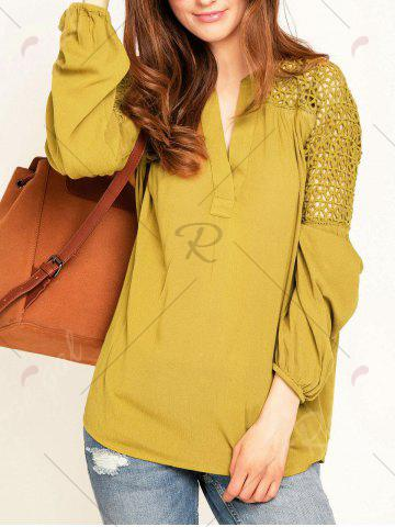 Unique Hollow Out Lace Insert Long Sleeve Blouse - S YELLOW Mobile