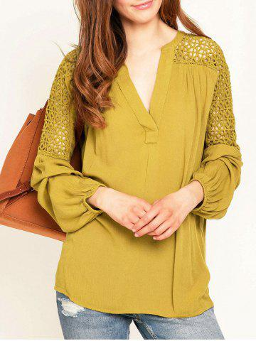 Buy Hollow Out Lace Insert Long Sleeve Blouse - S YELLOW Mobile