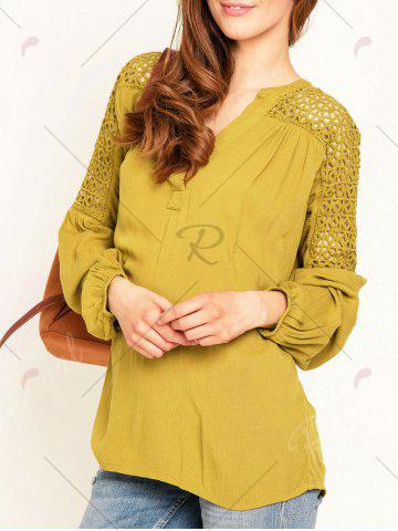 Fancy Hollow Out Lace Insert Long Sleeve Blouse - M YELLOW Mobile