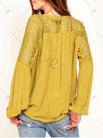 Fashion Hollow Out Lace Insert Long Sleeve Blouse - L YELLOW Mobile