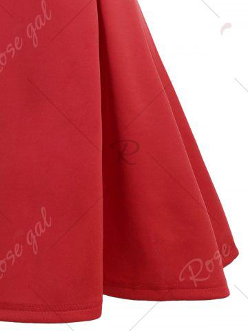 Fashion A Line Sleeveless Open Back Club Dress - L RED Mobile