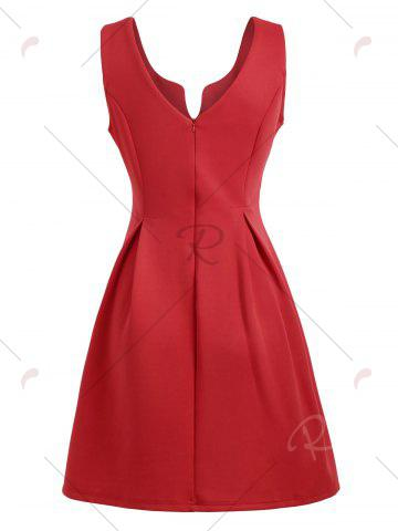 Hot A Line Sleeveless Open Back Club Dress - M RED Mobile
