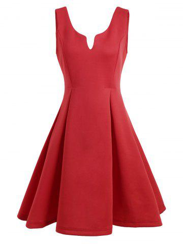 Hot A Line Sleeveless Open Back Club Dress - S RED Mobile