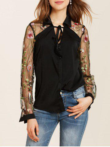 Fashion Flower Embroidered Lace Insert Long Sleeve Shirt - S BLACK Mobile