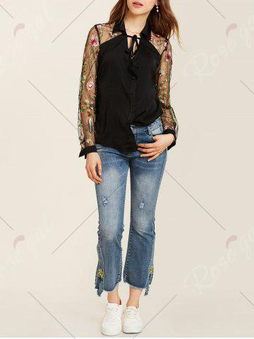 New Flower Embroidered Lace Insert Long Sleeve Shirt - S BLACK Mobile