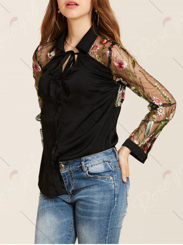Store Flower Embroidered Lace Insert Long Sleeve Shirt - M BLACK Mobile