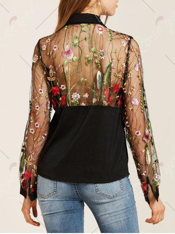 Chic Flower Embroidered Lace Insert Long Sleeve Shirt - L BLACK Mobile