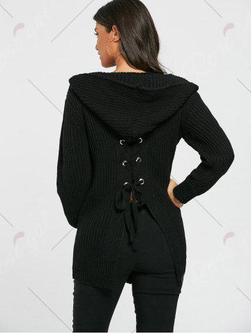 Affordable Lace Up Back Open Front Hooded Cardigan - ONE SIZE BLACK Mobile
