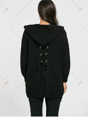 New Lace Up Back Open Front Hooded Cardigan - ONE SIZE BLACK Mobile