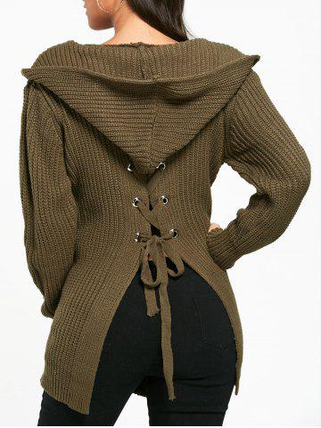 Fancy Lace Up Back Open Front Hooded Cardigan