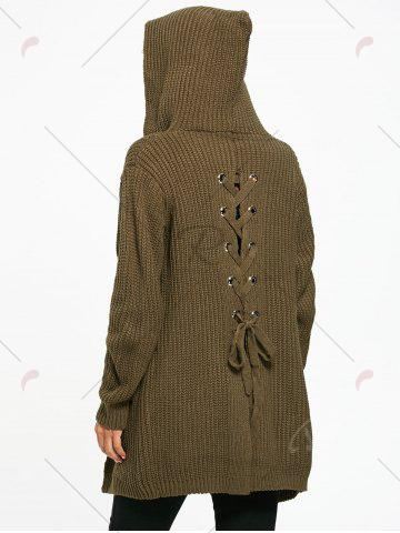 Online Lace Up Back Open Front Hooded Cardigan - ONE SIZE ARMY GREEN Mobile