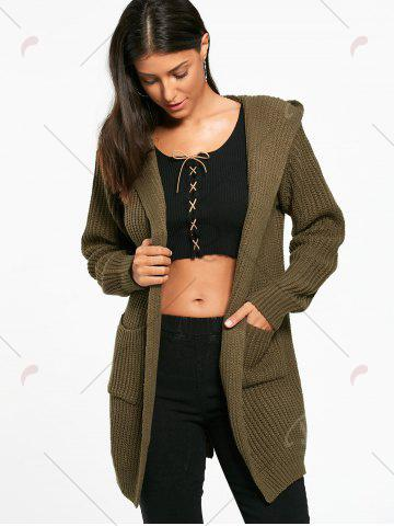 Trendy Lace Up Back Open Front Hooded Cardigan - ONE SIZE ARMY GREEN Mobile