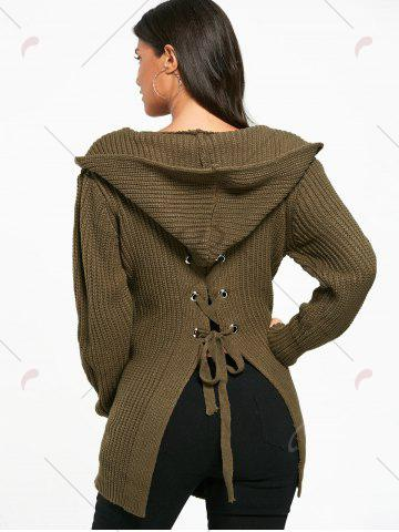 Sale Lace Up Back Open Front Hooded Cardigan - ONE SIZE ARMY GREEN Mobile