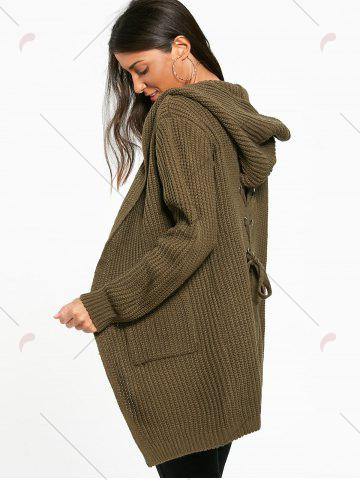Shop Lace Up Back Open Front Hooded Cardigan - ONE SIZE ARMY GREEN Mobile