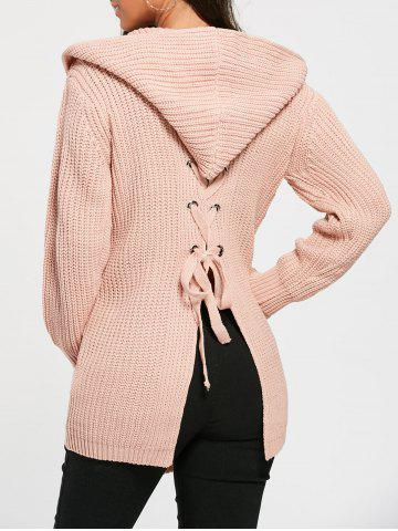 Lace Up Back Open Front Hooded Cardigan - Light Pink - One Size