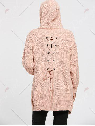 Sale Lace Up Back Open Front Hooded Cardigan - ONE SIZE LIGHT PINK Mobile