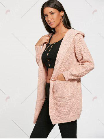 Trendy Lace Up Back Open Front Hooded Cardigan - ONE SIZE LIGHT PINK Mobile