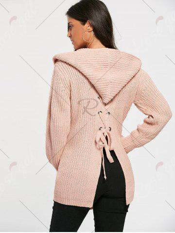 Shop Lace Up Back Open Front Hooded Cardigan - ONE SIZE LIGHT PINK Mobile