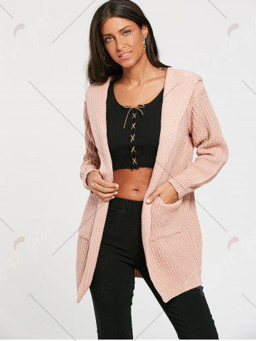Fancy Lace Up Back Open Front Hooded Cardigan - ONE SIZE LIGHT PINK Mobile