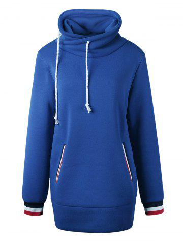 Sale Mock Neck Pocket Drawstring Long Hoodie - L BLUE Mobile