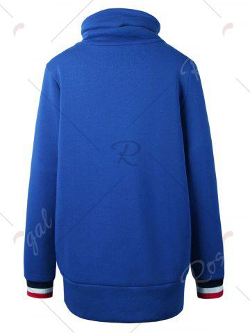 Chic Mock Neck Pocket Drawstring Long Hoodie - L BLUE Mobile