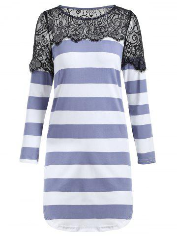 Latest Shift Striped Lace Insert Tunic T-shirt - S BLUE GRAY Mobile