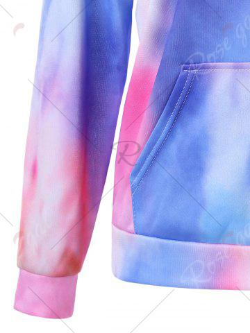 Chic Kangaroo Pocket Tie Dye Graphic Hoodie - M COLORMIX Mobile