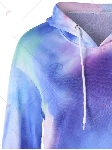 Chic Kangaroo Pocket Tie Dye Graphic Hoodie - L COLORMIX Mobile