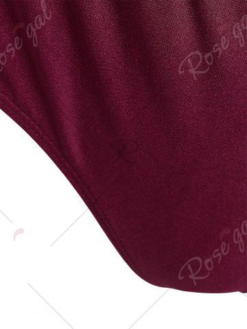 Store Plus Size Embroidered Sport Swimsuit - XL WINE RED Mobile