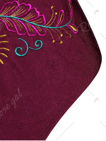 Fancy Plus Size Embroidered Sport Swimsuit - XL WINE RED Mobile