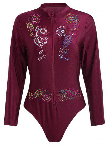 Fancy Plus Size Embroidered Sport Swimsuit WINE RED 2XL